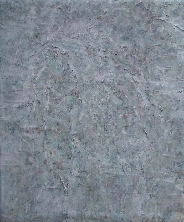 Semis vert et blanc Green and white seeding, 2019, acrylic and tarlatan on canvas, 90x110cm.